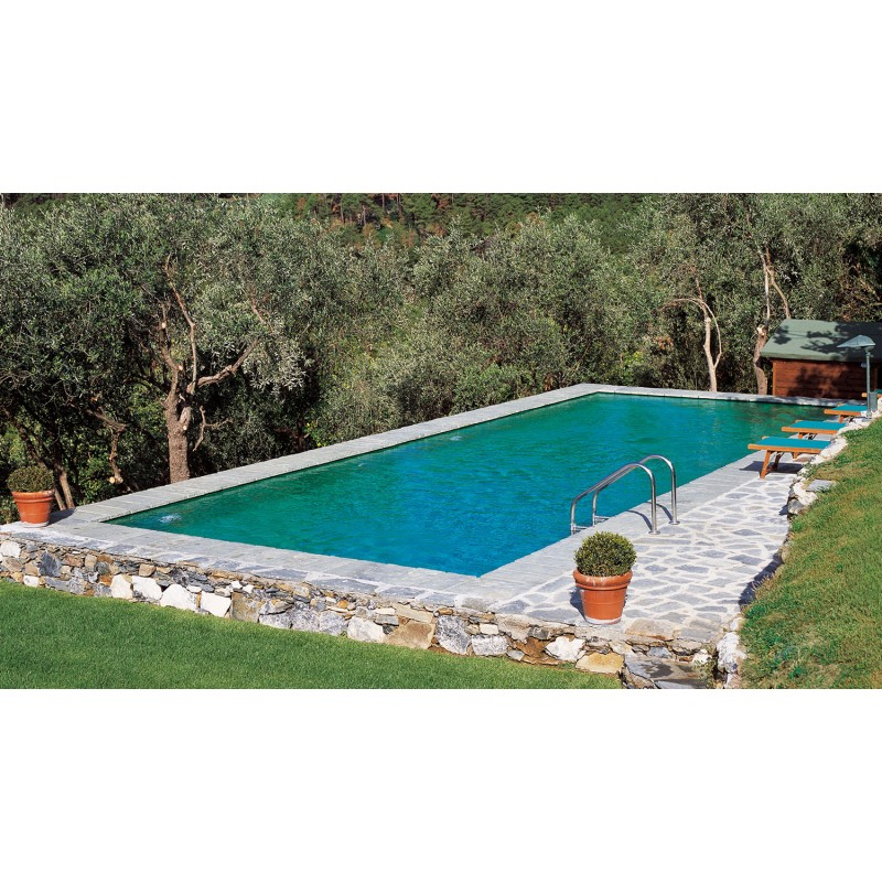 Piscina bluespring old stone laghetto a sfioro senza vasca for Piscina sfioro