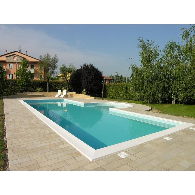 Bordo standard per piscina in pietra ricostruita 4x9 metri ...