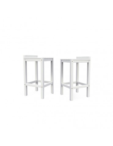Pair of stools in white varnished wood