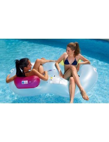 Boa doppia gonfiabile per piscina con 2 poggiatesta colorati