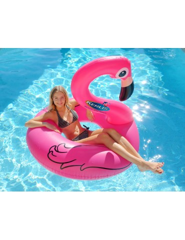 Inflatable Pink Flamingo-like air bed