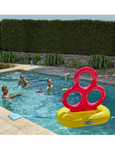Inflatable water game with three hoops