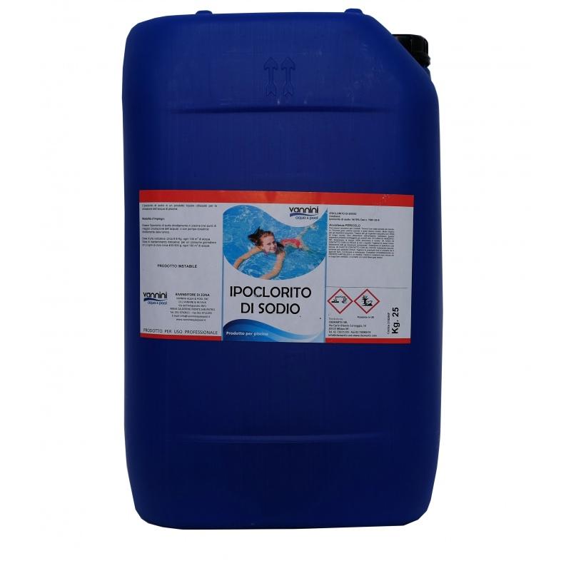 Liquid Sodium Hypochlorite 25 L Vannini Aqua Pool