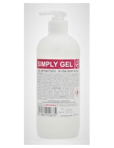 Simply Gel disinfettante mani senza acqua da 500 ml - 12 FLACONI