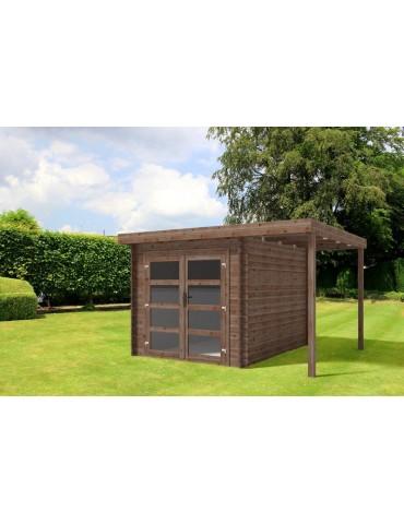 Casetta con veranda da giardino in legno impregnato Lidia cm.361 x 300