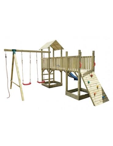 Gioco da giardino Torre Doppia in legno con scivolo, altalena doppia e arrampicata