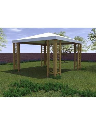 Gazebo in legno di pino impregnato Capri con telo di copertura - tre misure