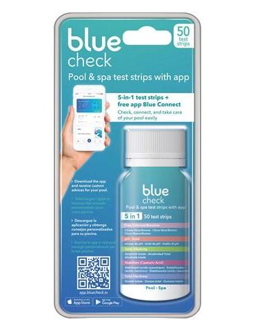 Blue Check 50 strisce per analisi acqua della piscina e della SPA 5 in 1