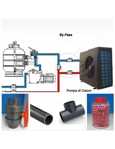 Kit By-Pass per pompa di calore e elettrolisi con tubi diametro 50 mm e attacchi diametro 50 mm.