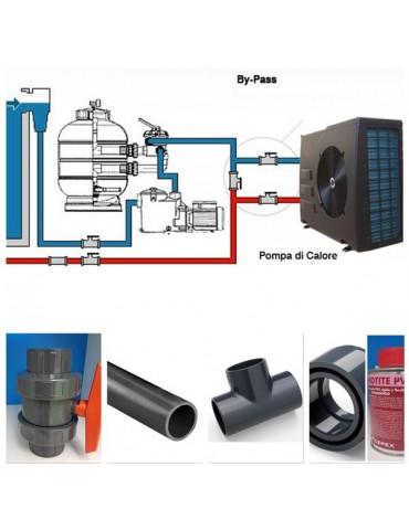 Kit By-Pass per pompa di calore e elettrolisi con tubi diametro 63 mm e attacchi diametro 50 mm.