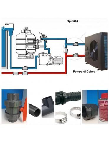Kit By-Pass per pompa di calore e elettrolisi con tubi diametro 32/38 mm e attacchi diametro 50 mm.